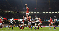 Wales Adam Beard claims the lineout<br /> <br /> Photographer Ian Cook/CameraSport<br /> <br /> 2019 Autumn Internationals - Wales v Barbarians - Saturday 30th November 2019 - Principality Stadium - Cardifff<br /> <br /> World Copyright © 2019 CameraSport. All rights reserved. 43 Linden Ave. Countesthorpe. Leicester. England. LE8 5PG - Tel: +44 (0) 116 277 4147 - admin@camerasport.com - www.camerasport.com