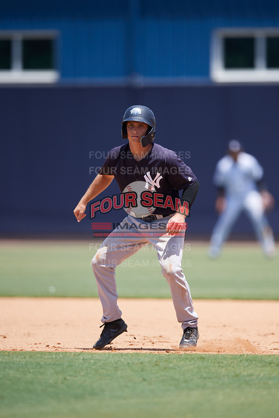 GCL Yankees East second baseman Matt McGarry (10) leads off first base during a game against the GCL Yankees West on August 8, 2018 at Yankee Complex in Tampa, Florida.  GCL Yankees West defeated GCL Yankees East 8-4.  (Mike Janes/Four Seam Images)