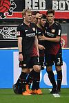 14.04.2018, BayArena, Leverkusen , GER, 1.FBL., Bayer 04 Leverkusen vs. Eintracht Frankfurt<br /> im Bild / picture shows: <br /> die Leverkusener bejubeln ihr tor zum 2:1 durch Kevin Volland (Leverkusen #31), mitte  li Julian Brandt (Leverkusen #10), Panagiotis Retsos (Leverkusen #3),  <br /> <br /> <br /> Foto &copy; nordphoto / Meuter