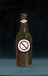 "Illustrative image beer bottle with ""stop sign"" representing prohibition of alcohol"