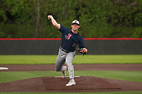 Juanita Rebels righthander Jayson Schroeder (21) pitching against the Lake Washington Kangaroos at Bannerwood Park on May 8th, 2018 in Bellevue, Washington.  The Rebels defeated the Kangaroos 7-2. (Ronnie Allen/Four Seam Images)
