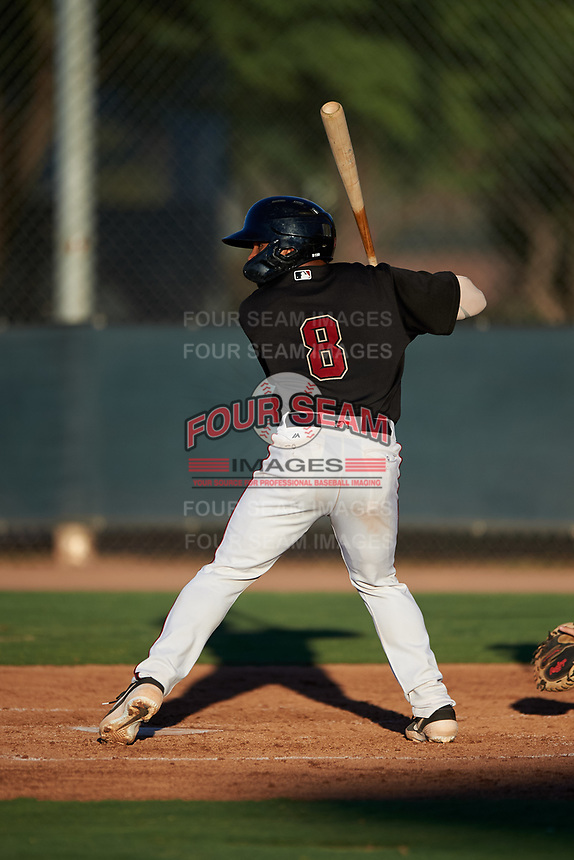 AZL D-backs Oscar Santos (8) at bat during an Arizona League game against the AZL Angels on July 20, 2019 at Salt River Fields at Talking Stick in Scottsdale, Arizona. The AZL Angels defeated the AZL D-backs 11-4. (Zachary Lucy/Four Seam Images)