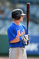 Hunter Stovall (6) of Pelham High School in Pelham, Alabama playing for the New York Mets scout team during the East Coast Pro Showcase on August 1, 2014 at NBT Bank Stadium in Syracuse, New York.  (Mike Janes/Four Seam Images)