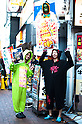 October 31, 2012, Tokyo, Japan - Japanese guys wear the costumes of random charsctors for Halloween in Kochijoji district, Tokyo. (Photo by Yumeto Yamazaki/AFLO)