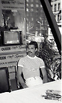 """Freddie Mercury of Queen attend Queen Press Conference for """"Hot Space"""" at Crazy Eddie's on July 27, 1982  in New York City."""