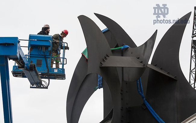 "Nov. 13, 2014; A crew prepares to move the ""Griffon"" sculpture to Notre Dame Sculpture Park. (Photo by Barbara Johnston/University of Notre Dame)"