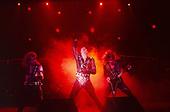 JUDAS PRIEST - L-R: KK Downing, Rob Halford, Glenn Tipton - performing live on the Mercenaries of Metal Tour at the Odeon Hammersmith in London UK - 13 Jun 1988.  Photo credit: