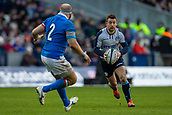 2nd February 2019, Murrayfield Stadium, Edinburgh, Scotland; Guinness Six Nations Rugby Championship, Scotland versus Italy; Greig Laidlaw of Scotland looks to pass before a tackle by Leonardo Ghiraldini of Italy
