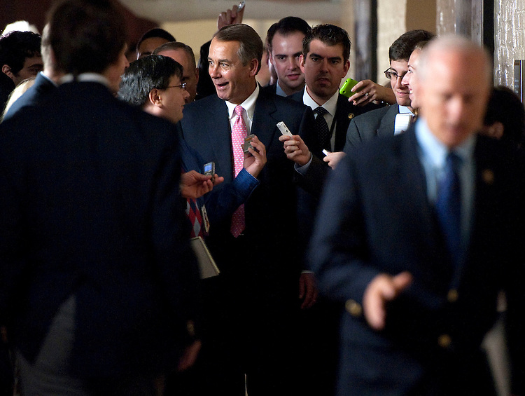 UNITED STATES – AUGUST 1, 2011: Speaker John Boehner (R-Ohio) reacts to reporters' questions as he leaves the House Republicans' caucus meeting on the debt ceiling increase. (Photo By Bill Clark/Roll Call)