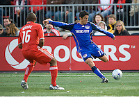 26 April 2009: Kansas City Wizards midfielder Kurt Morsink #11 prepares to launch one while Toronto FC defender Marvell Wynne #16 look on in a MLS game between Kansas City Wizards and Toronto FC..Toronto FC won 1-0. .