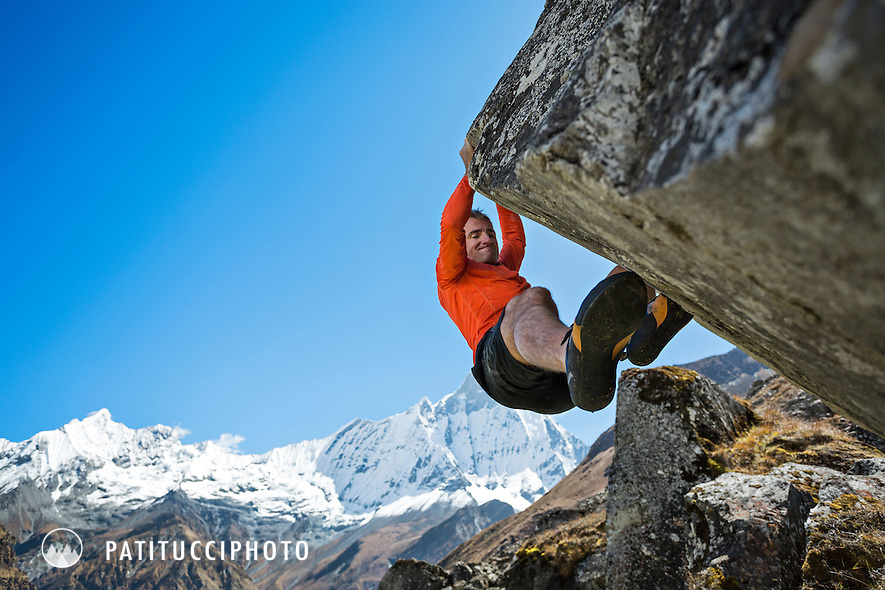 Ueli Steck returned to Nepal and the Annapurna south face in 2013 which he climbed solo, without oxygen, in one 28 hour alpine push, via a new route. The trip was his third attempt to climb the 8000 meter peak. Ueli Steck bouldering at Annapurna Basecamp.