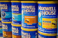 Cans of Kraft Foods Maxwell House brands on a supermarket shelf on Thursday, February 23, 2017.  Kraft Heinz has raised prices on their coffee brands following Smuckers. (© Richard B. Levine)