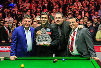 Ronnie O'Sullivan poses with Jimmy White and others with the trophy after winning during the Dafabet Masters FINAL between Barry Hawkins and Ronnie O'Sullivan at Alexandra Palace, London, England on 17 January 2016. Photo by Liam Smith / PRiME Media Images