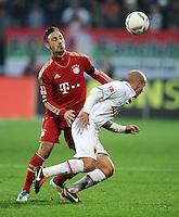 FUSSBALL   1. BUNDESLIGA  SAISON 2011/2012   12. Spieltag FC Augsburg - FC Bayern Muenchen         06.11.2011 Diego Contento (li, FC Bayern Muenchen) gegen Tobias Werner (FC Augsburg)