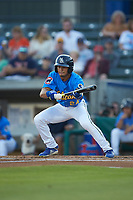 Zach Davis (24) of the Myrtle Beach Pelicans lays down a bunt against the Winston-Salem Dash at TicketReturn.com Field on May 16, 2019 in Myrtle Beach, South Carolina. The Dash defeated the Pelicans 6-0. (Brian Westerholt/Four Seam Images)