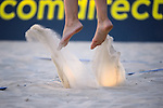 31.07.2020, Düsseldorf / Duesseldorf, Merkur Spiel-Arena<br /> Beachvolleyball, comdirect Beach Tour<br /> Top Teams<br /> Larissa Claaßen / Claassen / Nina Interwies vs. Constanze Bieneck / Julika Hoffmann <br /> <br /> Feature Beachvolleyball / Füße / Fuesse / Sand<br /> <br />   Foto © nordphoto / Kurth