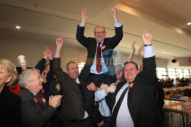 Ged Nash (Lab) celebrating his win.at the louth election count in the DKIT, Dundalk Co Louth..Picture: Fran Caffrey / www.newsfile.ie.