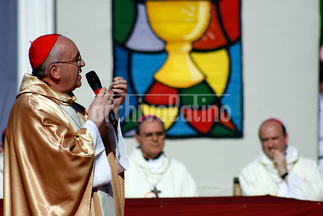 In this 2009 file picture newly elected Pope Jorge Bergoglio is seen during a Children´s Mass in Parque Roca, a poor district of Southern Buenos Aires