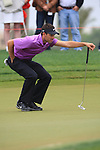 Charl Schwartzel eyes up his putt his ball on the 7th on day two of the Abu Dhabi HSBC Golf Championship 2011, at the Abu Dhabi golf club, UAE. 21/1/11..Picture Fran Caffrey/www.golffile.ie.