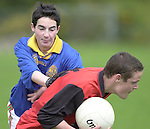 Darren Breen,Kenmare Community School, breaks away from Denis O' Shea,  Presentation Miltown, in the Kerry Colleges Russell Shield final at Dr. Crokes field, Killarney  on Tuesday afternoon.<br />Picture: Eamonn Keogh (MacMonagle, Killarney)
