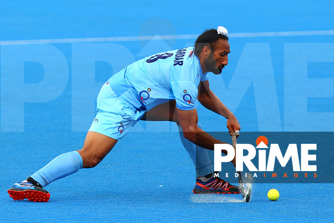 Sardar Singh of India during the Hockey World League Quarter-Final match between India and Malaysia at the Olympic Park, London, England on 22 June 2017. Photo by Steve McCarthy.