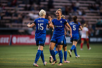 Seattle, WA - Wednesday, June 28, 2017: Merritt Mathias and Megan Rapinoe during a regular season National Women's Soccer League (NWSL) match between the Seattle Reign FC and the Chicago Red Stars at Memorial Stadium.