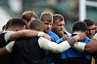 George Kruis of England speaks to his fellow forwards during the pre-match warm-up. Guinness Six Nations match between England and Italy on March 9, 2019 at Twickenham Stadium in London, England. Photo by: Patrick Khachfe / Onside Images