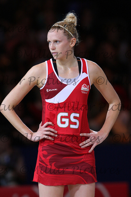 Joanne Harten of Team England in the Team New Zealand against Team England in the Netball Semi Final for the 20th Commonwealth Games, Glasgow 2014 at the Scottish Exhibition and Conference Centre, Glasgow on 2.8.14.