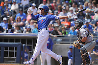 Tulsa Drillers Jacob Scavuzzo (7) swings during the game against the Northwest Arkansas Naturals at Oneok Stadium on May 1, 2016 in Tulsa, Oklahoma.  Northwest Arkansas won 7-5.  (Dennis Hubbard/Four Seam Images)