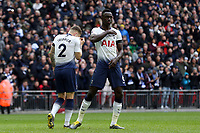 Davinson Sanchez of Tottenham Hotspur celebrates scoring the first goal during Tottenham Hotspur vs Leicester City, Premier League Football at Wembley Stadium on 10th February 2019