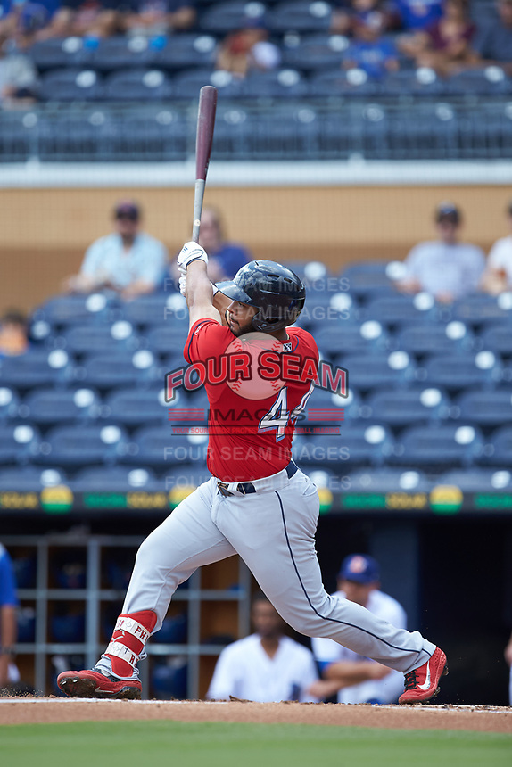 Bobby Bradley (44) of the Columbus Clippers follows through on his swing against the Durham Bulls at Durham Bulls Athletic Park on June 1, 2019 in Durham, North Carolina. The Bulls defeated the Clippers 11-5 in game one of a doubleheader. (Brian Westerholt/Four Seam Images)