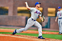 Kingsport Mets starting pitcher James Christian (10) delivers a pitch during a game against the Greeneville Astros at Pioneer Park on July 1, 2017 in Greeneville, Tennessee. The Astros defeated the Mets 6-2. (Tony Farlow/Four Seam Images)