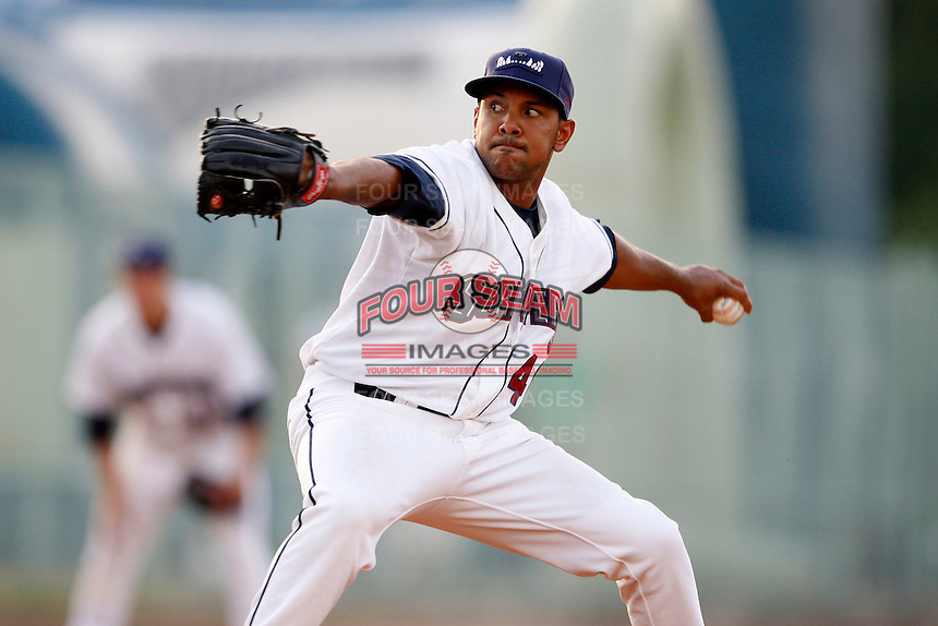 June 24, 2009:  Pitcher Kaimi Mead of the Mahoning Valley Scrappers during a game at Eastwood Field in Niles, OH.  The Scrappers are the NY-Penn League Short-Season Single-A affiliate of the Cleveland Indians.  Photo by:  Mike Janes/Four Seam Images