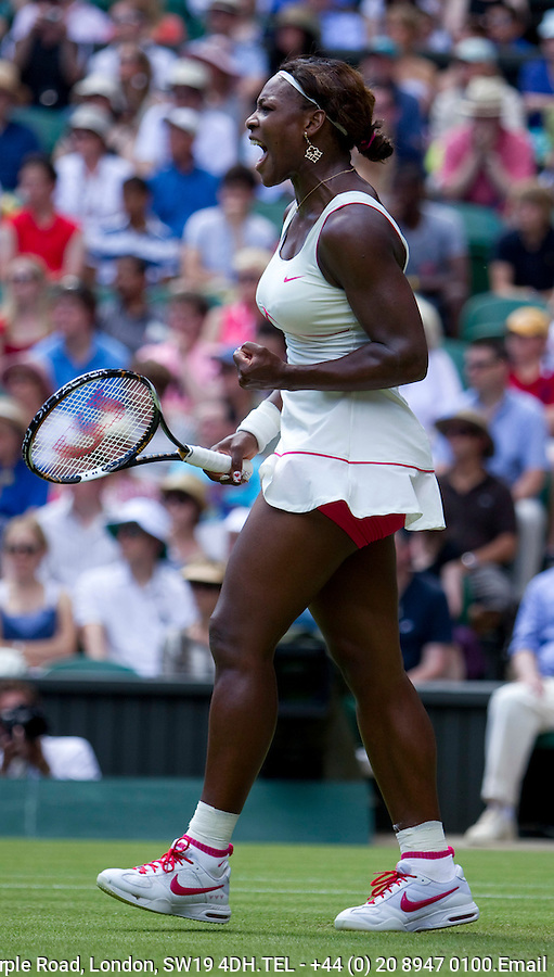 Serena Williams (USA) (1) against Michelle Larcher De Brito (POR) in the first round of the ladies singles. Serena Williams beat Michelle Larcher De Brito 6-0 6-4...Tennis - Wimbledon Lawn Tennis Championships - Day 2 Tue 22 Jun 2010 -  All England Lawn Tennis and Croquet Club - Wimbledon - London - England..© FREY - AMN IMAGES  Level 1, Barry House, 20-22 Worple Road, London, SW19 4DH.TEL - +44 (0) 20 8947 0100.Email - mfrey@advantagemedianet.com.www.advantagemedianet.com