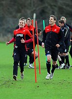 Pictured L-R: Mark Gower and Andrea Orlandi. Thursday 01 April 2010<br /> Re: Swansea City Football Club training at Llandarcy near near Swansea south Wales ahead of their clash against Cardiff on Saturday.