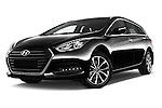 Stock pictures of low aggressive front three quarter view of 2015 Hyundai I40 Premium 5 Door Wagon Low Aggressive