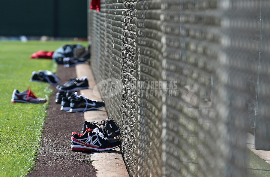 Feb. 12, 2013; Tempe, AZ, USA: Shoes belonging to Los Angeles Angels players sit on the edge of the field during spring training at Tempe Diablo Stadium. Mandatory Credit: Mark J. Rebilas-USA TODAY Sports