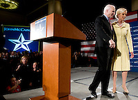 John McCain, U.S. senator from Arizona and 2008 Republican presidential candidate, and his wife Cindy Hensley McCain during a Watch Party in Dallas, Texas, U.S., on Tuesday, March 4, 2008. McCain won the nomination for the Republican party on Tuesday. Photographer: Matt Nager/Bloomberg News