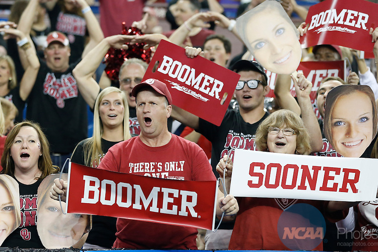 Apr 18, 2015: University of Oklahoma fans cheer during the Division I Women's Gymnastics Championship held at the Fort Worth Convention Center Arena in Fort Worth, Texas. Tim Heitman/NCAA Photos