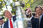 United States President Donald J. Trump speaks during an event where he hosted the St. Louis Blues, the 2019 Stanley Cup Champions, at the White House in Washington D.C., U.S. on Tuesday, October 15, 2019.<br /> <br /> Credit: Stefani Reynolds / CNP