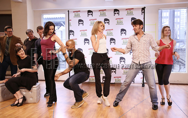 Curtis Wiley, Ashley Spencer and Eric Sciotta with The cast during the Press preview for 'Attack of the Elvis Impersonators'  at Shelter Studios on May 22, 2017 in New York City.