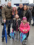 Cllr Tom, Stephanie, Anna-Lynn and Ciara Cunningham with Sinead Neilon and Emmett Steenson at the Water Charges March at St.Peters Steps, Drogheda