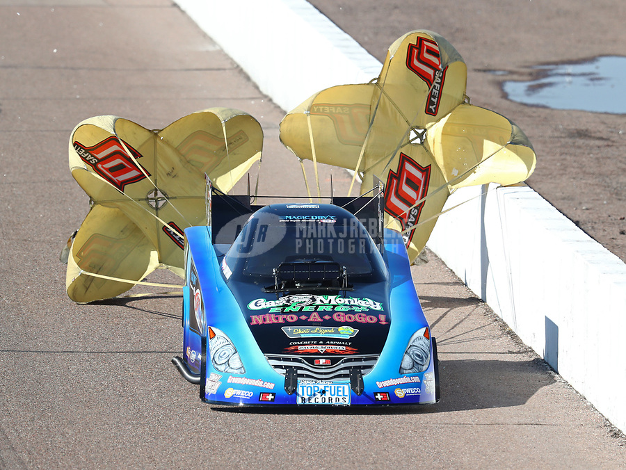 Feb 23, 2019; Chandler, AZ, USA; NHRA funny car driver Jeff Diehl during qualifying for the Arizona Nationals at Wild Horse Pass Motorsports Park. Mandatory Credit: Mark J. Rebilas-USA TODAY Sports