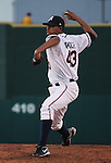 Aces starter Cesar Valdez throws against the Rainiers on Thursday. Photo by Tom Smedes.