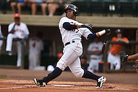Greenville Astros third baseman Cesar Carrasco #37 swings at a pitch during a game against the Pulaski Mariners at Pioneer Park July 12, 2014 in Greenville, Tennessee. The Mariners defeated the Astros 11-10. (Tony Farlow/Four Seam Images)