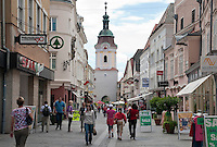 Austria, Lower Austria, UNESCO World Heritage Wachau, Krems: Old Town, pedestrian area Obere Landstrasse, at background medieval town gate Steinertor