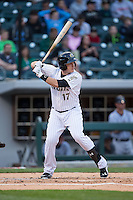 Jason Coats (17) of the Charlotte Knights at bat against the Scranton\Wilkes-Barre RailRiders at BB&T BallPark on May 1, 2015 in Charlotte, North Carolina.  The RailRiders defeated the Knights 5-4.  (Brian Westerholt/Four Seam Images)