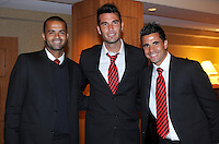 D.C. United forward Santos Maicon left with defender Emiliano Dudar center and midfielder Marcelo Saragosa right,at the United Kickoff luncheon, at the Marriott hotel in Washington DC, March 5, 2012.