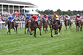 24th August 2018, York Races, Yorkshire, England;  Alpha Delphini (third from right) with Graham Lee up wins the Nunthorpe Stakes. York racecourse.