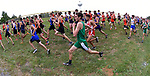 An ultra-wide lens gives a curved view of runners at the start of the boys run during the Freeburg Invitational Cross Country meet which was held at the Smithton City Park on Saturday September 22, 2018.<br /> Tim Vizer/Special to STLhighschoolsports.com